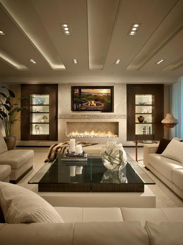 Off White Wood Living Room Design, Carvings Surfaces Private ...