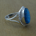 GLASS GEMSTONE WHOLESALE 925 STERLING SILVER JEWELRY FINGER RING WR-2004