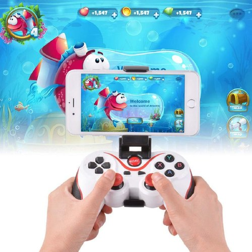 T3 Wireless Bluetooth Game pad Controller Joy pad Phone Holder for All  Android iOS PC (White)