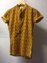Cotton Casual Nahar Magra Sanganeri Prints Half Sleeves Mens Kurta, Size: M L XL XXL