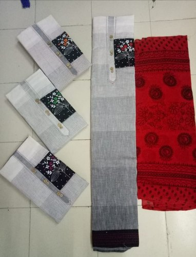 Grey & Red Cotton Embroidery Suit, For Summer Wear