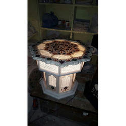 Marble Inlay Table With Lamp