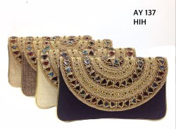 Clutch Multi Color Glass Stone Jute Bags, Capacity: Standard