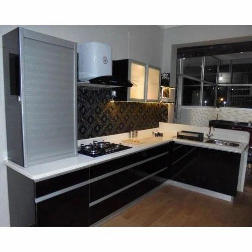 L Shaped Polished Modular Kitchen