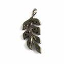 Pave Diamond Leaf Charm Pendant