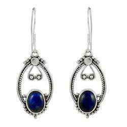 Semi Precious Lapis Gemstone Sterling Silver Earrings
