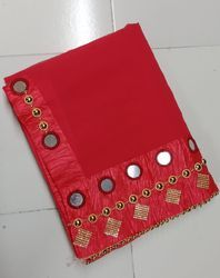 Georgette Mirror And Hand Work Bordered Pattern Red Saree