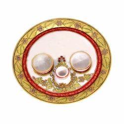Marble Pooja Thali with Diyas