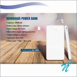 10000 mAh Leather Finish White Power Bank