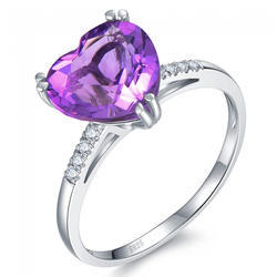 Fine Sterling Silver Rings & Heart Ring with Amethyst