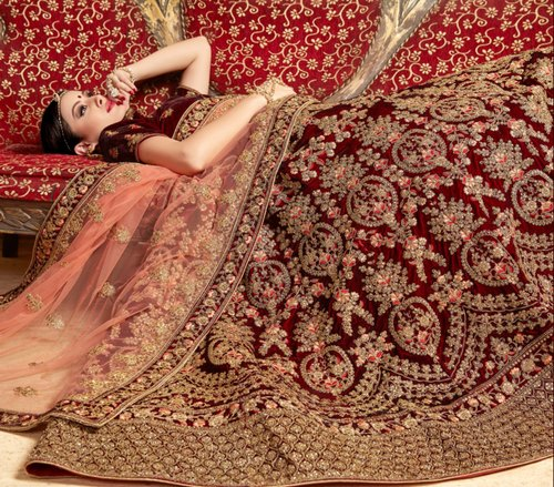c49a30a36e5 Red   Marun HEAVY VELVET Pure Velvet Heavy Bridal Lehenga Choli ...