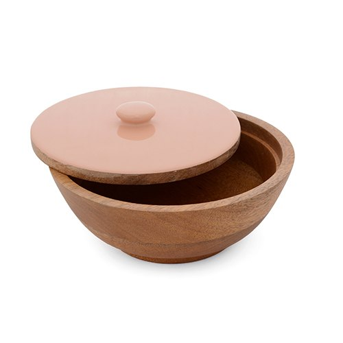Natural Fibres Export Wooden Salad Serving Lid Bowl