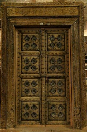 Antique Bed: Brown Antique Wooden Door, Micro Art Furniture
