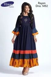 Designer Rayon Kurti with Embroidery
