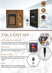 3 In 1 Gift Set Notes Diary With Pen And Keychain - Giftana