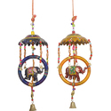 Metal Wall Hangings Multicolor Chatri Ring Elephant Latkan, For Decoration, Size: M