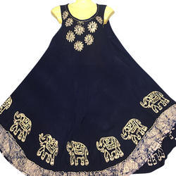 Black Sleeveless Embroidered Dress, Size: XL