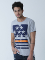 Men Fashion Round Neck Cotton T Shirt , Color: Greymelange, Size: Small, Medium, Large, Xl