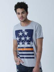 Men Fashion Round Neck Cotton T Shirt , Color: Greymelange, Size: Small, Medium, Large, XL