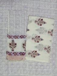 Cotton Block Print Suit Set Vegetable Natural Color