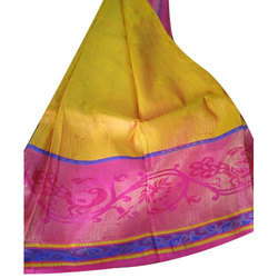 Printed Party Wear Pure Silk Gadwal Saree, 5.5 m (separate blouse piece)