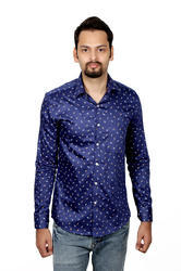 Vida Loca Men Satin Printed Blue Shirt