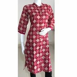 Embroidery A Line Cotton Kurtis