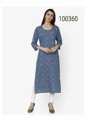 Party Wear Denim Cotton Kurti By Parvati Fabric
