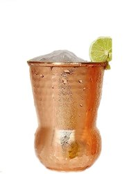 Round Copper Glass Tumbler Hammered, Capacity: 300ml, for Restaurant