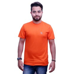 Men's Orange Half Sleeves Plain Sports T-Shirt, Size: S-XXL