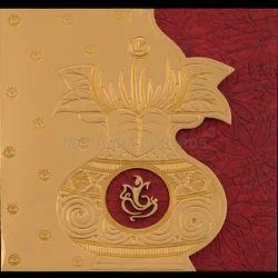 Three Fold Traditional Hindu Wedding Invitation Card