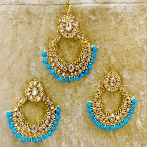 3f2545134 Brass And Beads Ladies Gold Toned Kundan Studded Imitation Earring and Maang  Tikka Set