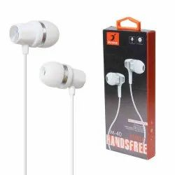 White Wired M40 Stereo Headphones Extra Bass With Microphone, Headphone Jack: 3.5 Mm Jack