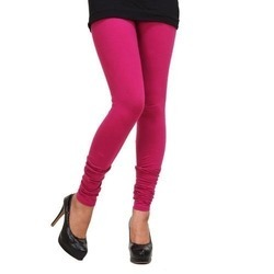 Churidar Plain Ladies Magenta Cotton Lycra V Cut Leggings