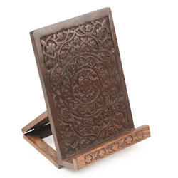 Brown Hand Carved Sheesham Wood Foldable Book Stand Ipad Holder
