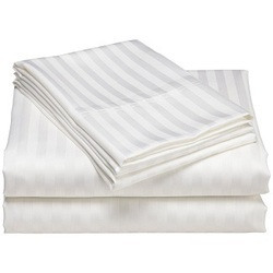 White Cotton Flat Satin Stripe Bed Sheets In 400 Tc