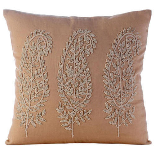 Cotton Beaded Embroidered Cushion Cover