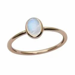 9ct Yellow Fine Gold Oval Rainbow Moonstone Bezel Set Solitaire Ring