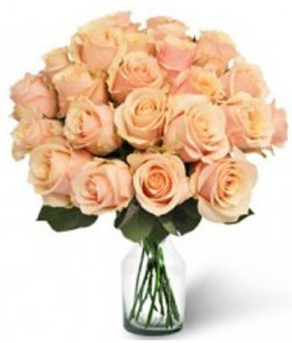 Peach Roses In Vase 24 Flowers