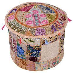 Ottoman Round Embroidered Cushion Ottoman Cover