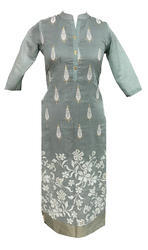 Lavanya Rayon Chanderi Kurti With Leaf Gold Print And Daman Embroidery With Collar