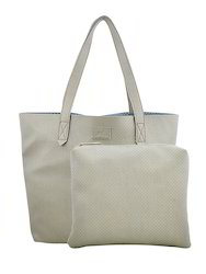 Yelloe Grey Synthetic Leather Tote Bag With Punched Surface