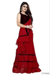 Georgette Ruffle Saree Fancy Design Ladies Wear