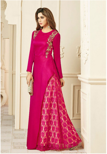 67252d860 Magenta Color Cotton Silk And Georgette Designer Gowns Kurti
