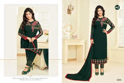56601f717c Dark Green Georgette Heavy Embroidered Women' s Unstitched Salwar Suit