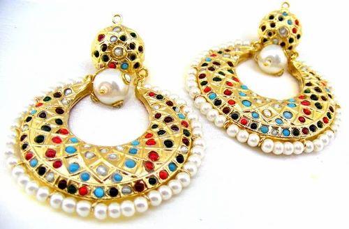 Ar Jewels Elegant Jadau Style Multi Color Beads Carved Pearls Earrings