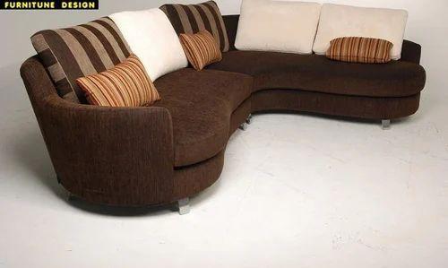 4 Seater Wood And Velvet Round L Shape Sofa