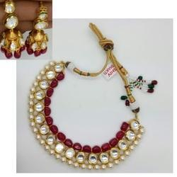 Kundan Polki Set With Golden Jhumka's