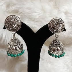 Oxdised German Silver Jhumka with Green Beads