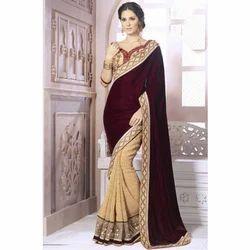 Multicolor Velvet Embroidery Half Saree